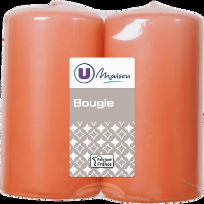 Bougies U MAISON, non parfumées, 48x90mm, corail, 2 unités