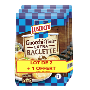Lustucru Gnocchi À Poêler Fourré À La Raclette Lustucru, 2 X 280g +1 Offerte Soit 840g
