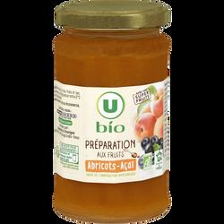 Préparation aux fruits abricots et açaï U BIO, pot de 240g