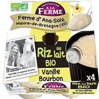 Riz au lait à la vanille Bourbon bio, 4*125gr