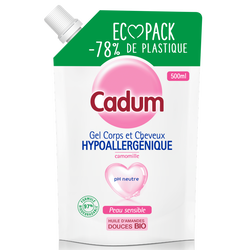 Gel douche camomille hypoallergenique ecopack CADUM flacon de 500 ML