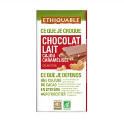 Chocolat lait cajout caramélisé Pérou BIO ETHIQUABLE 100g