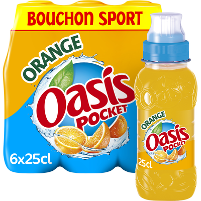 OASIS orange bouchon push pull 6x25cl