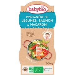 BABYBIO Printanière Légumes Saumon MaCARONI 2X200GRS