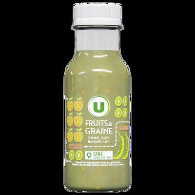 Fruits et graine pomme kiwi banane lin U, bouteille en plastique de 25cl