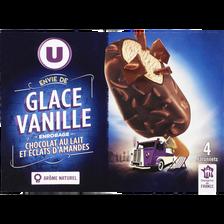 Bâtonnets envie vanille chocolat lait amandes U, 4x263g
