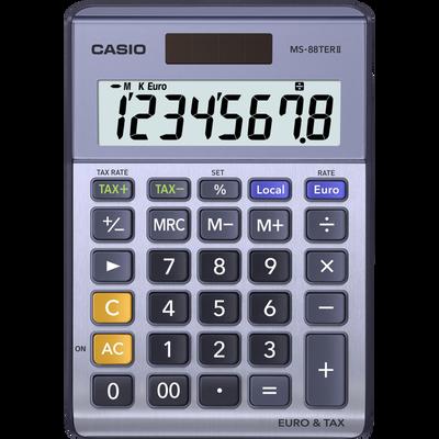 Calculatrice mini de bureau CASIO Ms-88terII, 4 opérations, écran 8 chiffres, convers.euro, touche correction