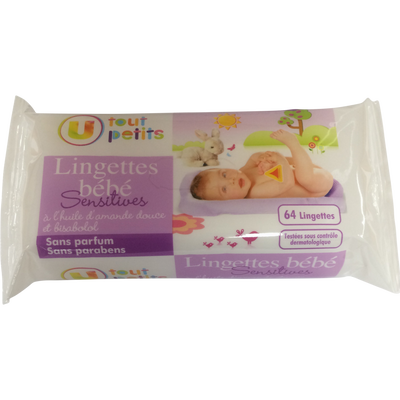 Lingettes sensitives bébé U TOUT PETITS, recharge x64