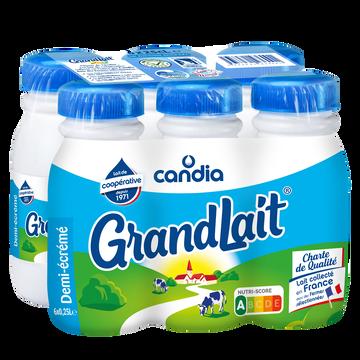 Candia Lait Demi Écrémé Uht Grandlait Candia, 6x25cl