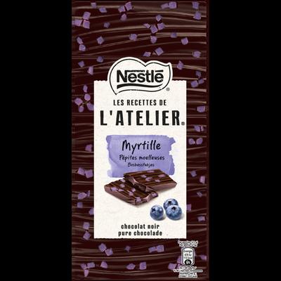 Chocolat noir aux pépites moelleuses de myrtille LES RECETTES DE L'ATELIER, tablette de 105g