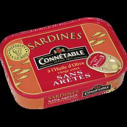 Sardines sans arêtes à l'huile d'olive CONNETABLE, 115g