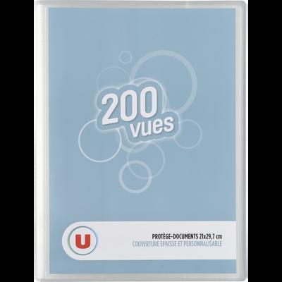 Protège document personnalisable 200 vues U, 21x29,7cm, couleurs assorties