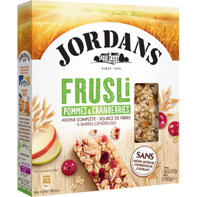 Barres céréales frusli pommes cranberries JORDANS, 180g