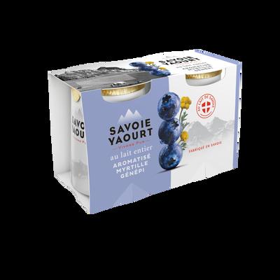 Yaourt au lait entier sucré aromatisé à la myrtille et au génépi SAVOIE YAOURT pot carton 2x125g