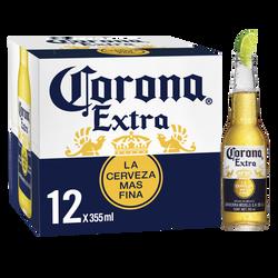 Bière blonde Extra CORONA, 4,6°, 12 bouteilles de 35,5cl