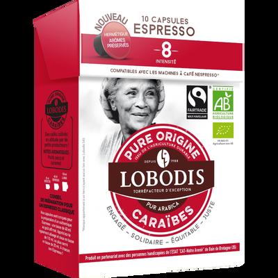 Café bio en capsules expresso des Caraïbes LOBODIS, 52g