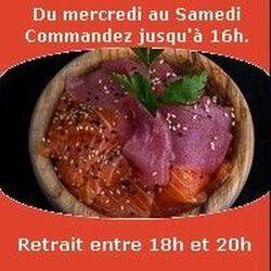 Chirashi (10 lamelles de poissons monté sur riz vinaigré), Mixte thon saumon SUSHI MONT BLANC