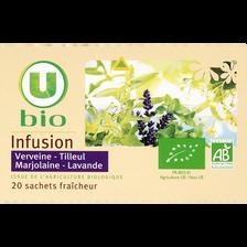 Infusion Tilleul, Verveine, Marjolaine et Lavande U BIO, 20 sachets, boîte de 32g