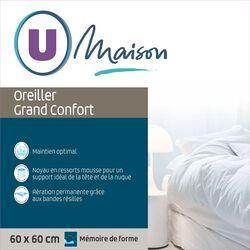 OREILLER GRAND CONFORT ERGONOMIQUE 60X60CM MEMOIRE DE FORME U MAISON