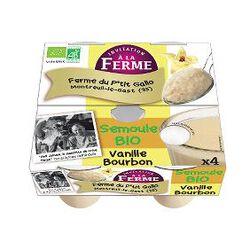 Semoule BIO au lait frais de vaches, vanille, FERME D'ANA-SOIZ, 4 pots de 100g