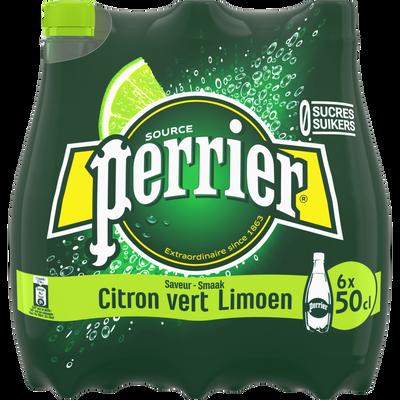 Eau minérale gazeuse arômatisée citron vert PERRIER, 6x50cl