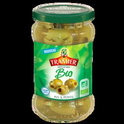 Olives vertes dénoyautées ail & persil bio TRAMIER 130g