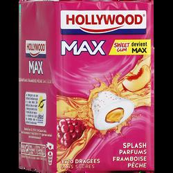 Chewing-gum HOLLYWOOD, max splash framboise pêche sans sucre lot de 3,66g