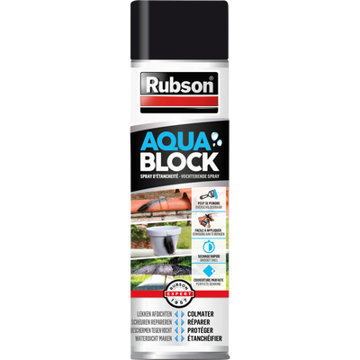 RUBSON revêtement étanchéité aquablock, noir, en spray, 300ml