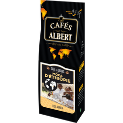 Café grain moka d'Ethiopie 100% arabica CAFES ALBERT, 250g
