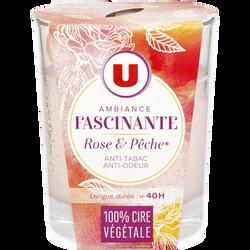 Bougie végétale ambiance fascinante parfum rose et pêche U, pot de 150g