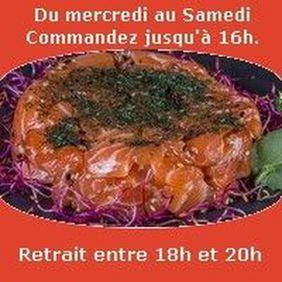 Tartare, Saumon ail des ours séchée huile de sésame salée sésame SUSHI MONT BLANC