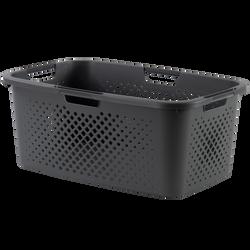 Corbeille à linge pixel en polypropylène 40l 58x38x23,5cm gris lookmoderne-4 poignées ergonomiques-ajoure 4 côtés pour une meilleure ventilation du linge-Fabriqué en France