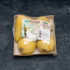 Poire guyot, U BIO, calibre 60/65, catégorie 2, France, barquette 4 fruits