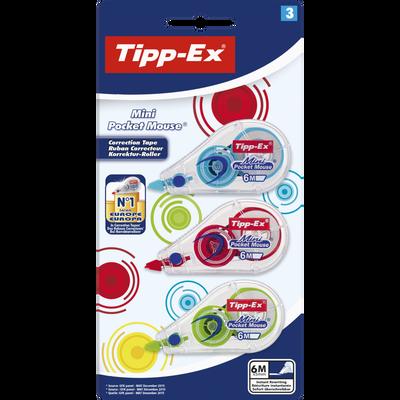 Ruban correcteur TIPP-EX BIC mini pocket mouse fashion, 5mmx5m, 3unités, coloris assortis