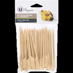 Mini-bochettes U MAISON, en bambou, 50 unités