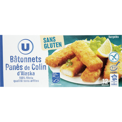 Portion de bloc de bâtonnets panés de colin d'Alaska MSC sans gluten,U, 12x360g