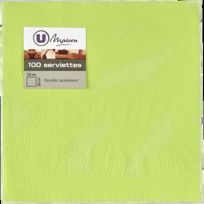 Serviettes en papier U, 33x32cm, vert, pack de 100