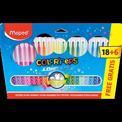 Feutres de couleurs MAPED Color'Peps, pack de 24