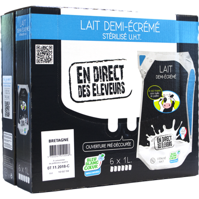 Lait demi-écrémé Bleu Blanc Coeur DIRECT DES ELEVEURS DE BRETAGNE, 6x1l