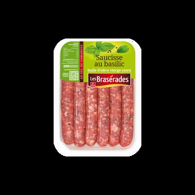 Saucisse basilic, LES BRASERADES, 6 pièces, barquette, 300g