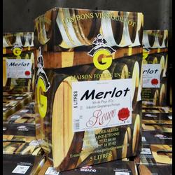 Vin rouge pays d'Oc Merlot IGP, bag in box 5l