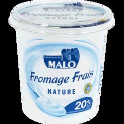 Fromage frais nature lait pasteurisé MALO, 20% de MG, pot de 1kg