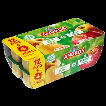 Andros Dessert Pomme Et Spécialité Pomme/poires Andros 12x100g + 4 Offerts