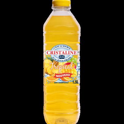 Eau aromatisée au jus de fruits tropical CRISTALINE, bouteille de 1,5l
