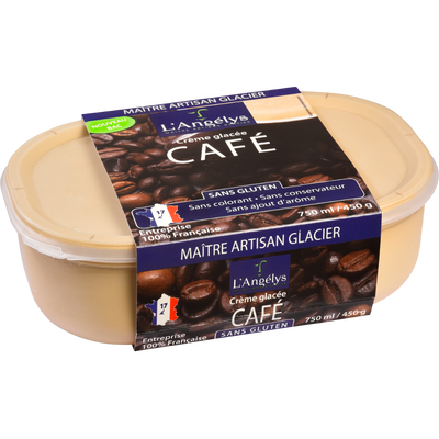 Crème glacée au café L'ANGELYS, pot de 450g
