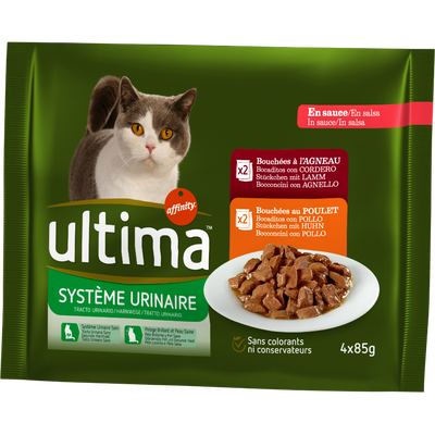 Protection système urinaire (bouchées agneau/poulet) ULTIMA, pochon 4x85g