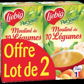 Liebig Pursoup Mouliné 10 Légumes Variés Liebig, 2 Briques De 1l