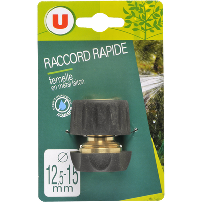 Raccord rapide femelle aquastop en laiton U, 12,5/15mm