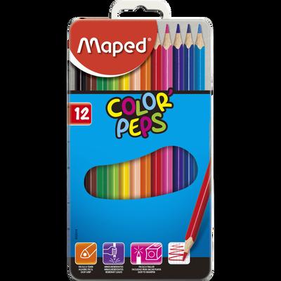 Crayon de couleurs color Pep's MAPED, boîte de 12 unités, coloris assortis