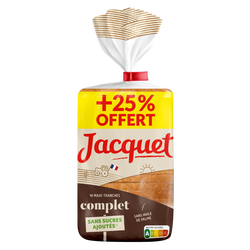 Pain mie maxi tranches complet JACQUET, 550g+25% offert